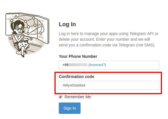 وارد کردن کد حذف اکانت تلگرام