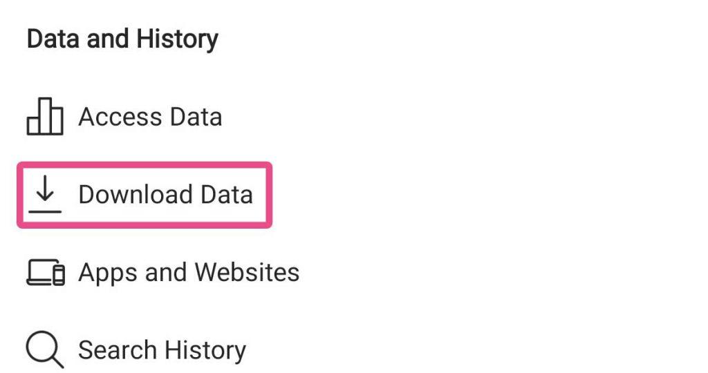 گزینه ی download data ر