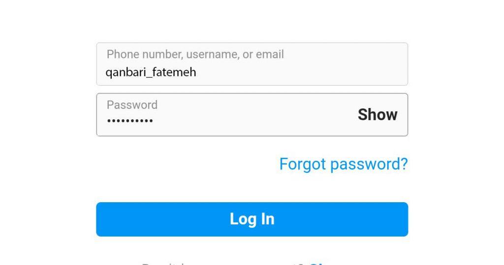 نام کاربری و رمز عبور حسابی که یم خایهد کامنت ها را پیدا کنید